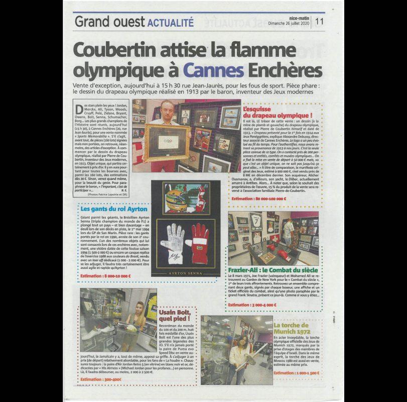 Coubertin attise la flamme olympique à Cannes Enchères
