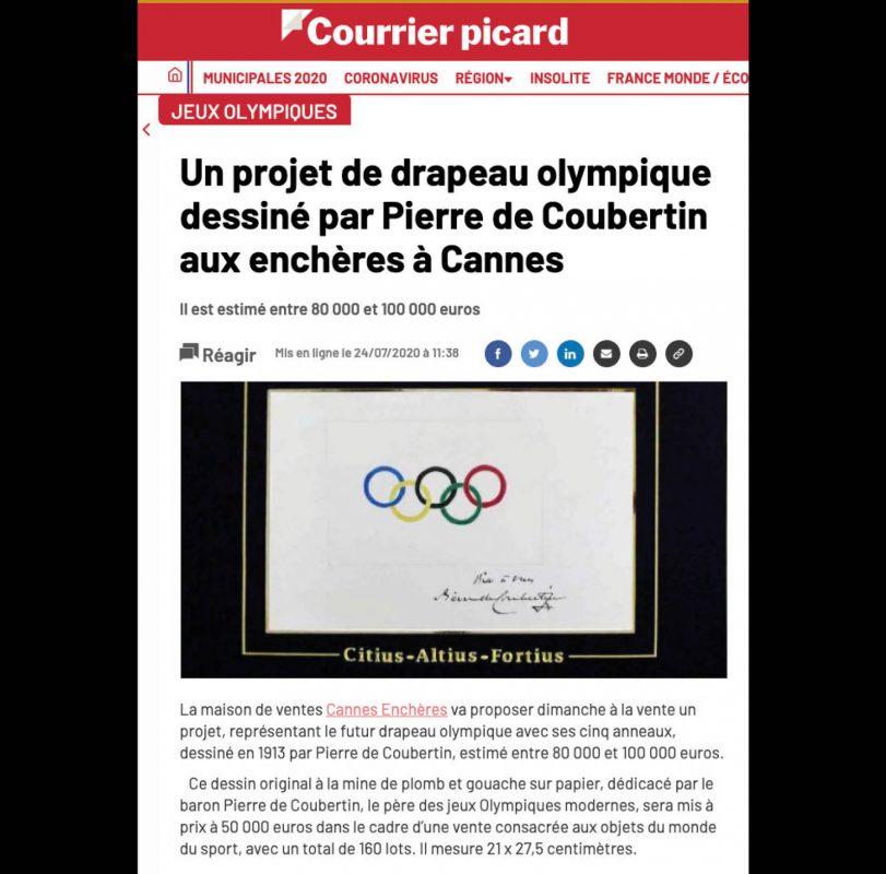 Courrier Picard - Un projet de drapeau olympique dessiné par Pierre de Coubertin aux enchères à Cannes