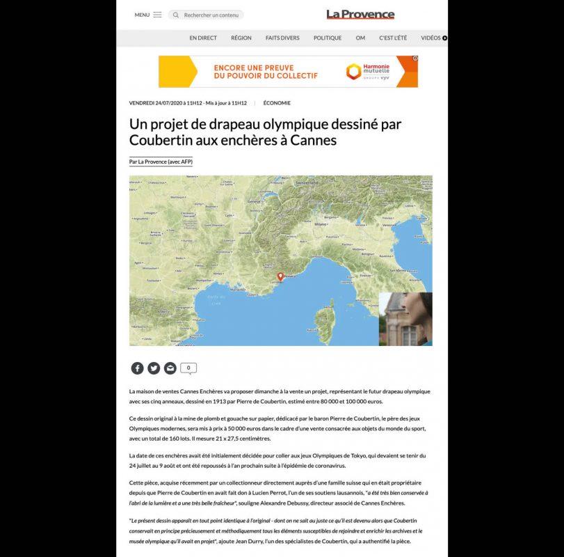 La Provence - Un projet de drapeau olympique dessiné par Pierre de Coubertin aux enchères à Cannes